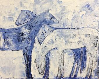 Three horses original oil painting by kainz  24x 36