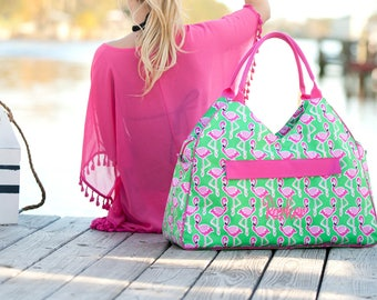 Personalized Flamingle Beach Bag, Monogrammed, Tote Bag, Diaper Bag, Gym Bag, Personalized Gift