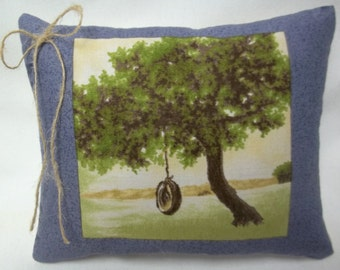 Tire Swing Mini Pillow, Spring Summer Pillow, Outdoor Activity