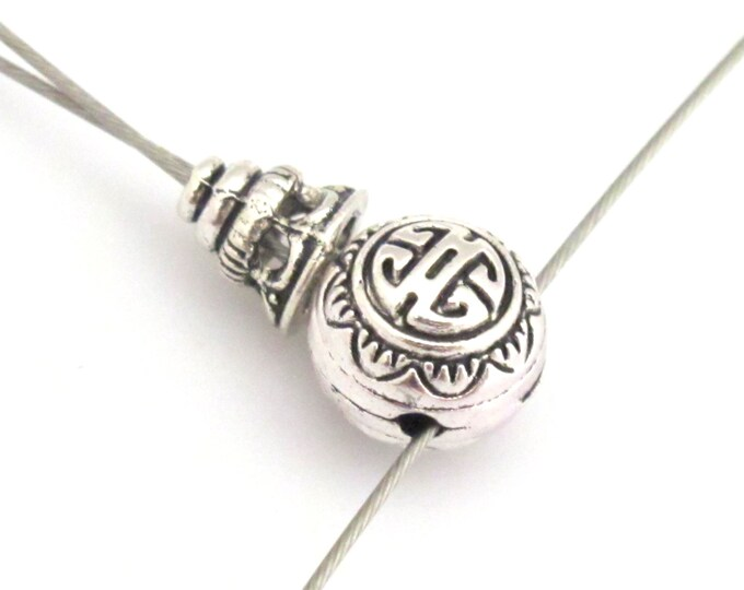 1 set -  Guru bead set - Light weight tibetan silver  3 hole Guru bead 10 mm size and column bead set - GB006