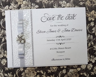 "Handmade Wedding ""Save the date"", glitter card and embossed paper, diamante, silver shimmer ribbon"