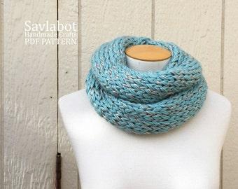 knit pattern PDF infinity scarf- knit cowl pattern -  knit scarf pattern - infinity scarf - no. 002