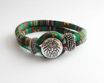 African Green Cloth Fabric Lion Bracelet African Jewelry Snap Bracelets African Tribal Cute Green Animal Bracelet Handmade Gift Ideas