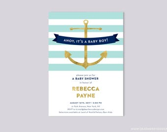 Aqua Blue and Gold Ahoy It's a Boy Baby Shower Invitation, Faux Gold Foil & Navy Nautical Anchor Invite, Aquamarine