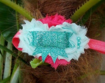 Lela- Shabby chic headband, mint headband, coral headband, aqua headband, glitter headband, glitter bow, bow headband, shabby headband