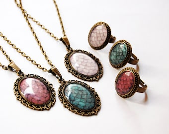 The Khaleesi Dragon Eggs - Set of 3 Cameo Rings + Necklaces - Daenerys Targaryen Stormborn Mother of Dragons - Game of Thrones Jewelry -BFF