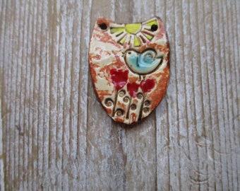 Bird  Pottery Pendant