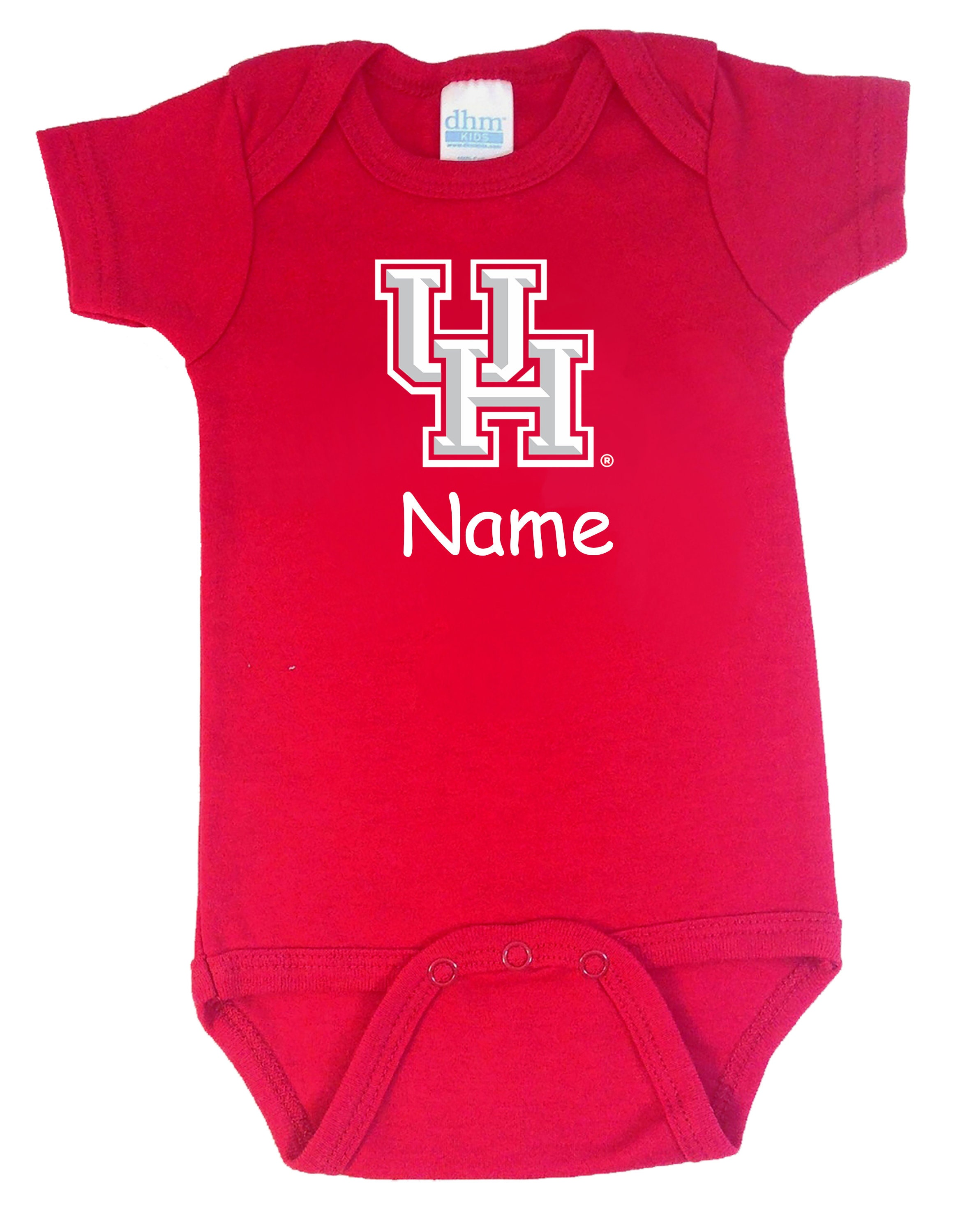 Houston Cougars Personalized Color Baby Bodysuit