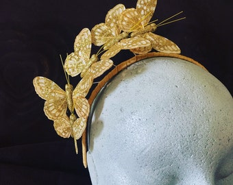 Gold Fascinator / Headpiece with butterfly detail