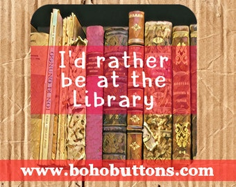 I'd Rather be at the Library Vinyl Sticker, Book Sticker, Nerd Decal, Laptop Decal, Bumper Sticker, Reading Gift for Teacher, Librarian