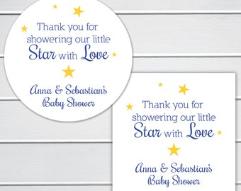 Thank you for showering our little Star with Love Baby Shower Stickers, Star Baby Shower Favor Labels, Twinkle Little Star (#182-2)