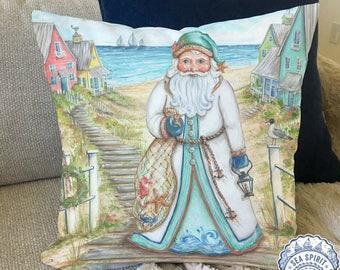 Coastal Santa Claus decor   Coastal Christmas pillow cover   coastal decor   beach Christmas decor   Beach house gift   Kate McRostie