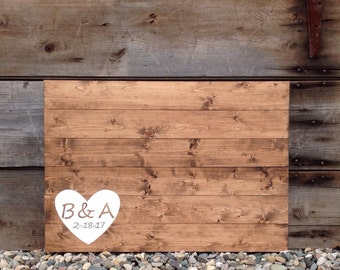 wood guest book, wedding guest book, Guest Book, wedding guestbook, rustic guest book, guestbook, Initials & date with Heart, measures 30X21