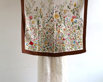Hand rolled silk floral scarf