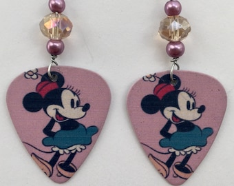 1 Pair- Minnie Mouse Guitar Pick Earrings