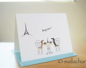 Dachshunds in Paris Cafe - Note Cards (set of 10)