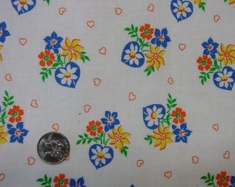 "Vintage Full Feedsack Novelty Large 37 x 44"" Border Print, Hearts,Flowers, Excellent"