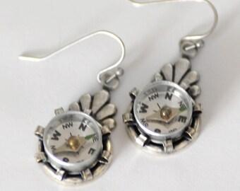 Compass Earrings, Working Compass, Steampunk Earrings, Silver Earrings, Mini Compass Jewelry, Industrial Geek Nerd Earrings, Wearable Tech