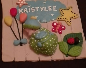 Customizable door for child's room or for baby, polymer clay
