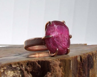 Ruby Beryl Copper Ring, faceted pink stone prong set on a wire wrapped band