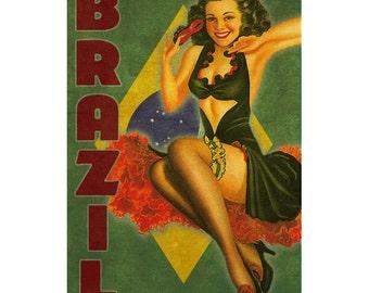 BRAZIL 1PS- Handmade Leather Journal / Sketchbook - Travel Art