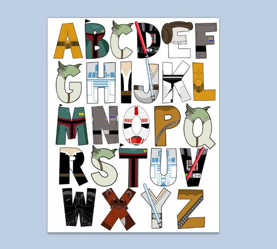 star wars letters wars alphabet poster 16x20 and letter pack digital file 24972 | il 570xN.693666055 c45u