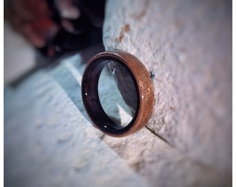 Walnut & Ebony Bent Wood Ring - Made to order - All US and UK Ring Sizes