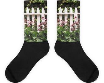 White Picket Fence Socks - Cute Flower Garden Design - Great Gift - Shabby Chic Design