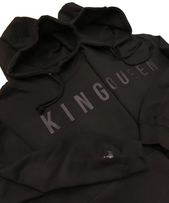 King & Queen Embossed Black Hoodies Twin Pack. Cute Couples Matching Goals Novelty Chill Relationships Gifts for her His Hers Mr phY87