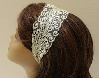 Gold lace headband,braided headband,bridesmaid headband, bridesmaid hair pieces
