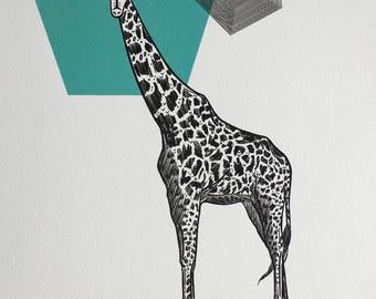 Masked Animalia Print, Graceful Giant