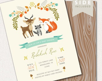 Fiesta baby shower invitation holy guacamole party woodland baby shower invitation printable woodland baby shower invites with fox deer raccoon filmwisefo Images