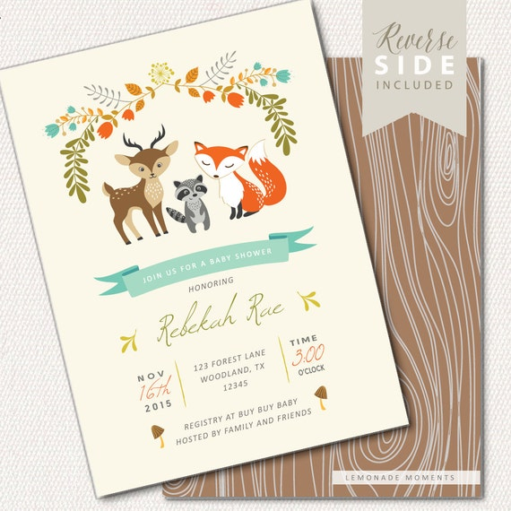 Woodland Baby Shower Invitation Printable Woodland Baby