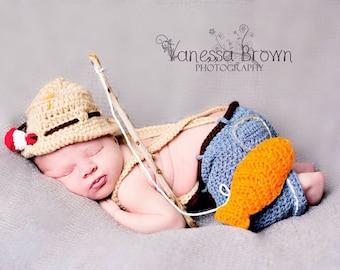 Crochet newborn baby boy fisherman hat set photo prop- custom made to order