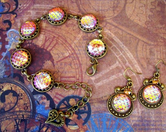 Steampunk Jewelry Set (Set802) Bracelet and Earrings, Brass Hardware, Apricot Aurora Borealis Mermaid Scale Acrylic Gems, Swarovski Crystals