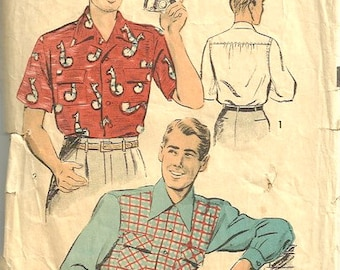 1940s Advance 3968 Mens Shirt Pattern Rockabilly Short or Long Sleeve Contrast Size Small Chest 34 - 36