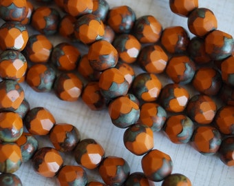 Orange Acorn Beads - Opaque Faceted Acorn - Opaque Orange Beads - Czech Glass round Beads Fire Polished - Bead Soup Beads