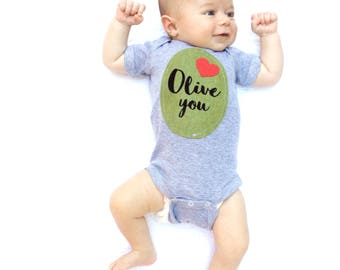 Baby Onsie, Olive You Baby Shirt, Punny Baby Clothes, I Love You, Take Home Outfit, New Baby Gift, Baby Shower Present, Baby Boy Clothes