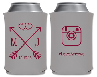 Neoprene Collapsible Custom Coolers Beverage Insulator Personalized Country Wedding Favor | Love Arrows Instagram Hashtag | READ DESCRIPTION