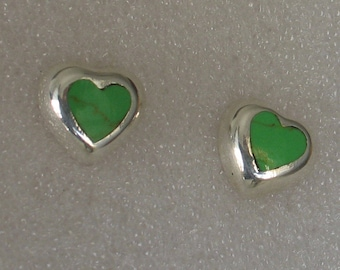 SALE Sterling Green  Turquoise Inlay Heart Post Mexico Earrings 15mm