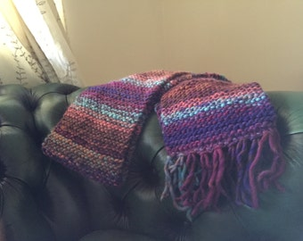 Knitted scarf, purple and green, 100% wool