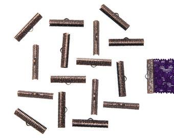 150 pieces  30mm ( 1 3/16 inch ) Antique Copper Ribbon Clamp End Crimps - Artisan Series