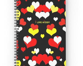 Mickey Mouse Notebook, Fun Gift, Spiral Notebook for Disney Lover, Black Yellow Red Hearts Notepad, Journal for Teen, Diary for Boy or Girl