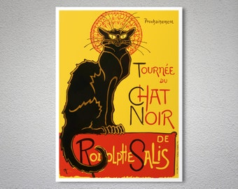 Chat Noir Vintage Entertainment Poster by Theophile Steinlen, 1896 - Poster Print, Sticker or Canvas Print / Gift Idea