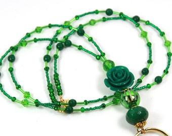 GREEN ROSE - Beaded Badge Holder, Beaded Lanyard, Green Lanyard