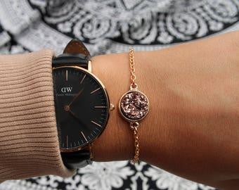 Rose Gold Druzy Bracelet