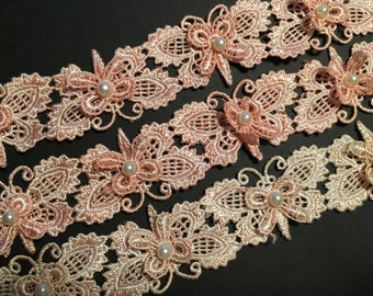 Butterfly Lace Trim With Pearl - Rose Pink