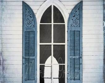 Window Art. Photographic Print. Historic Chapel. Architecture.Blue Shutters. Home or Office Decor. Nostalgic Decor. Fine Art Photography