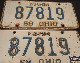 1969 Ohio farm license plate