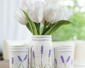 Lavender Flower Painted Mason Jars - WIDE MOUTH Painted Lavender Flower Mason Jars